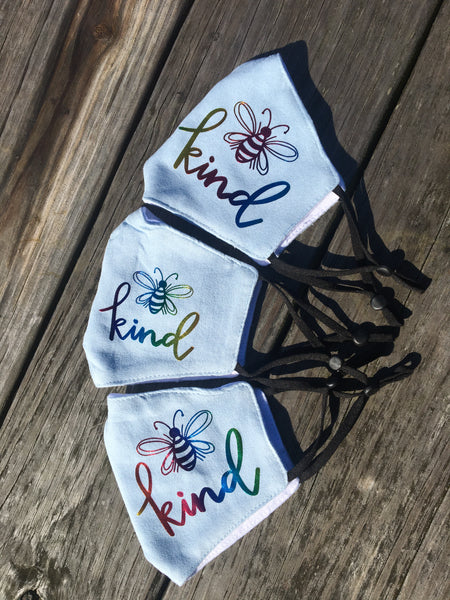 Teen/adult size Be Kind handmade face mask blue w/metallic writing
