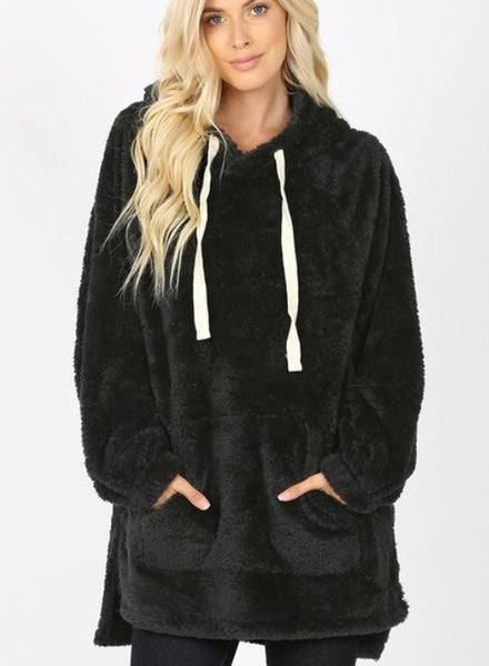 Aria faux fur Hooded Sweatshirt - black