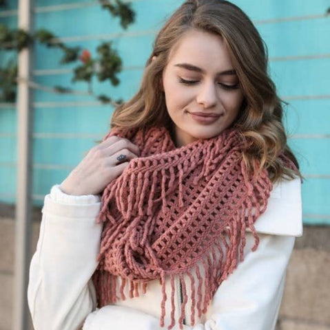 A perfect scarf - Lattice Knit Tassel Infinity - Rose gold