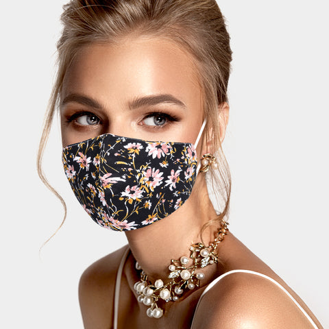 Adult face mask - adjustable black wildflowers