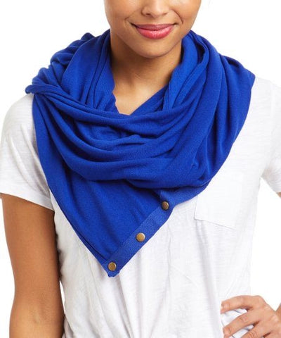 Wrap & scarf in one w/Adjustable snaps - face mask royal blue