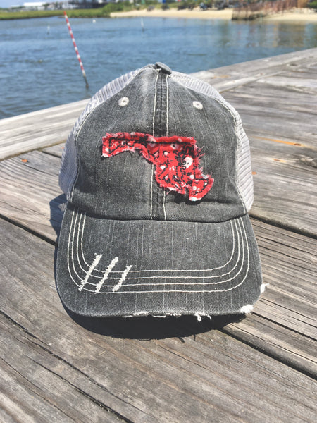 Maryland Hat - Gray Distressed w/red fabric