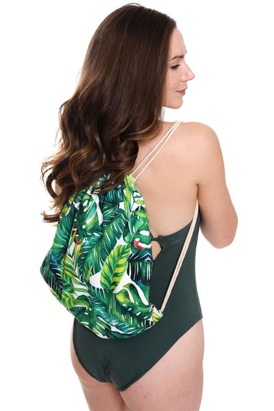 2 in 1 Beach Towel & Drawstring Bag - Palms