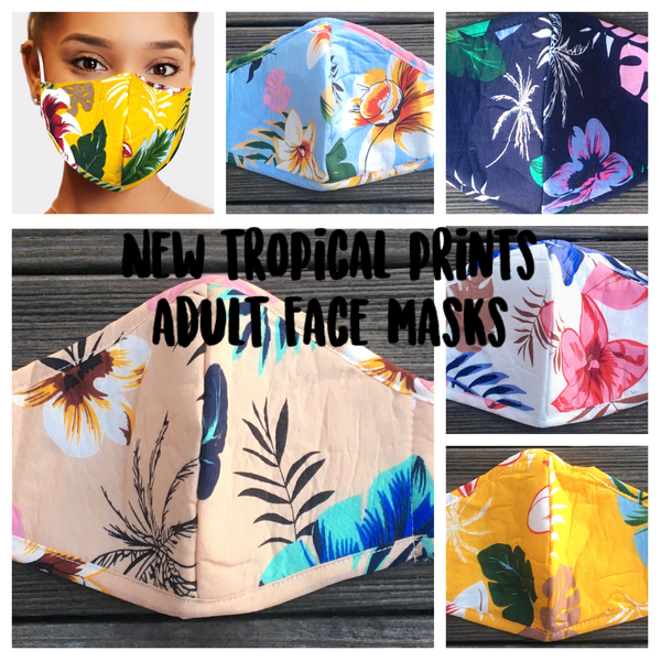 Adult face mask - adjustable tropical white
