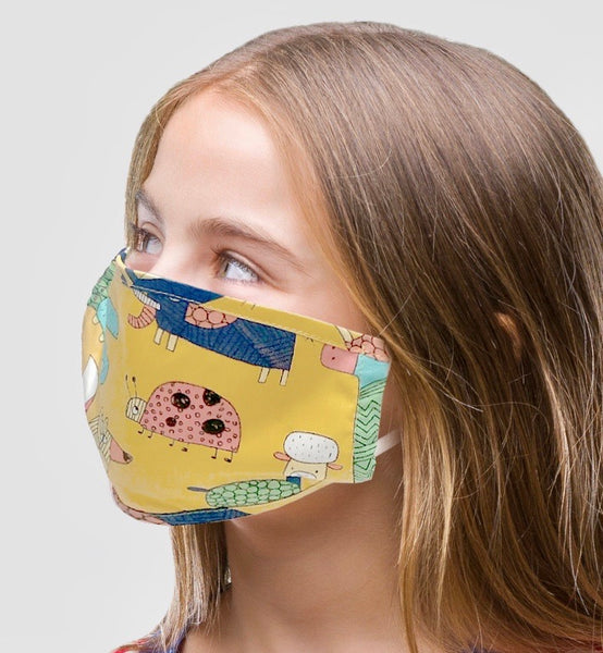 Adjustable Kids Face Mask - neutral animals