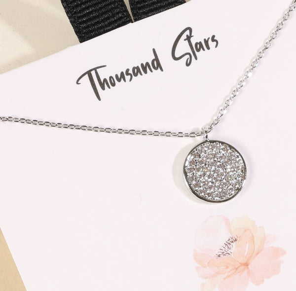 A Thousand Stars Disc Charm Gold Dip Necklace - silver