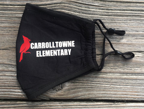 Carrolltowne Elementary Adjustable Kids Face Mask - Black