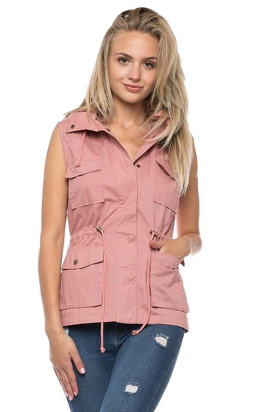 Liv Cargo Utility Vest - dusty rose