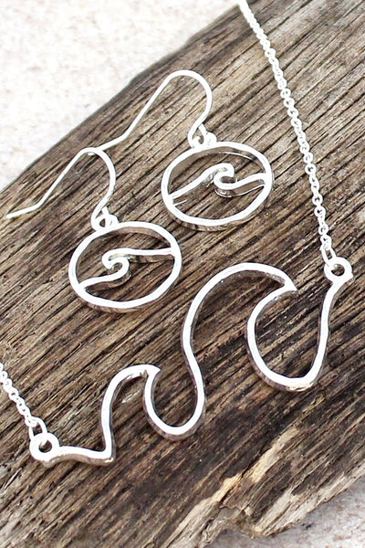Silver Wave Necklace & Earring Set