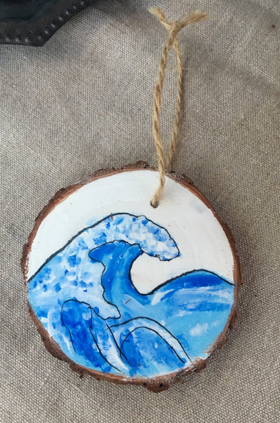 Handmade Wave wood ornament