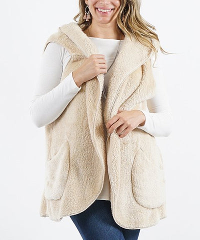 Cream Faux fur Pocket Hooded Vest /w Button Brooch