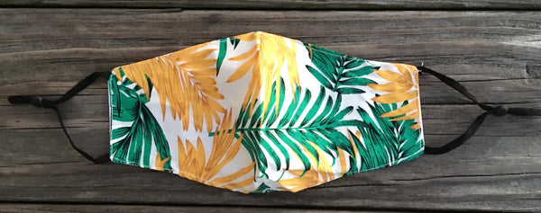 Adult face mask - adjustable cotton tropical green & yellow
