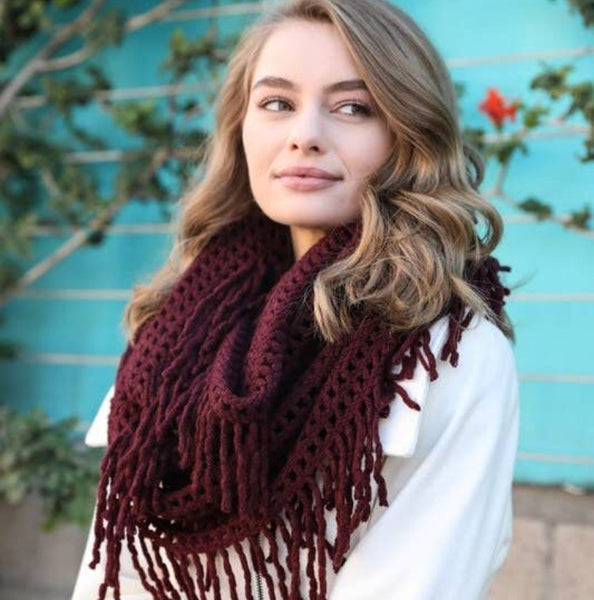 A Perfect Scarf - Lattice Knit Tassel Infinity - burgundy