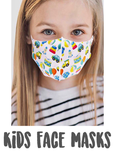Kids Face Mask - Hearts & Balloons