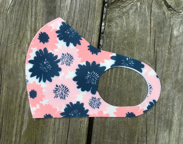 Face Mask - Pink & navy retro floral