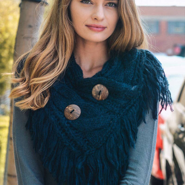 Heathered Infinity Scarf w/buttons Navy