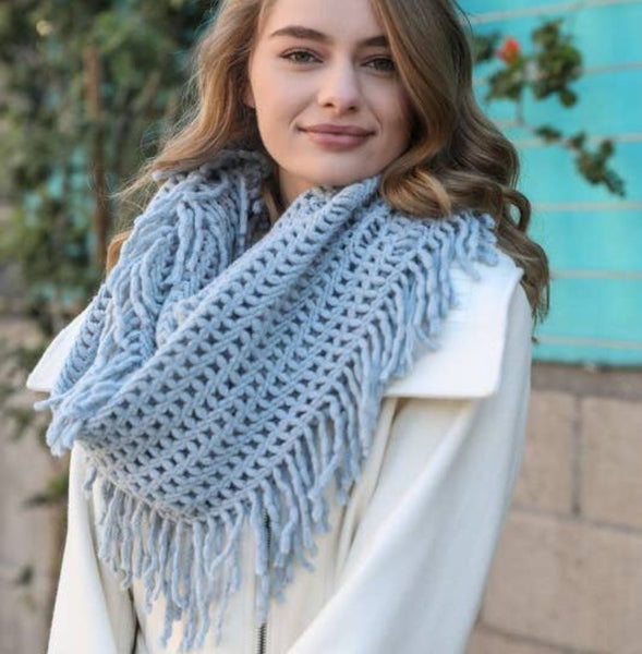 A Perfect Scarf - Lattice Knit Tassel Infinity - blue mist