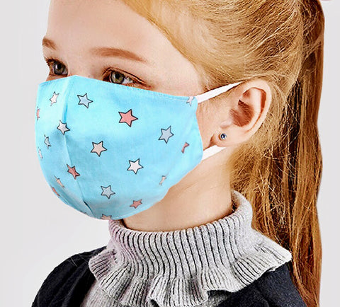 Adjustable Kids Face Mask - Turquoise stars