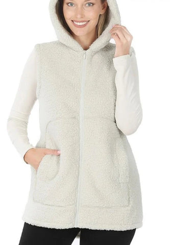 Bella Sherpa vest - cream