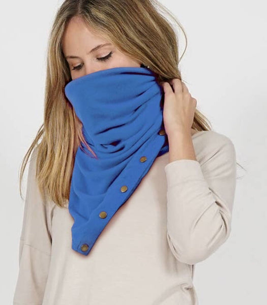 Wrap & Scarf in one w/Adjustable snaps - face mask blue mist