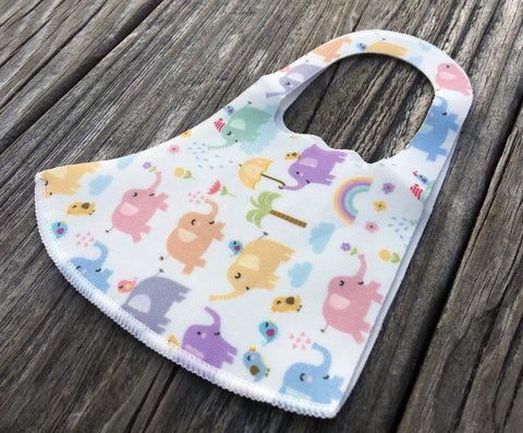 Kids Face Mask - Pastel elephants palms & rainbows