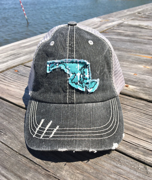 Maryland Anchor Hat - Gray Distressed Trucker Hat