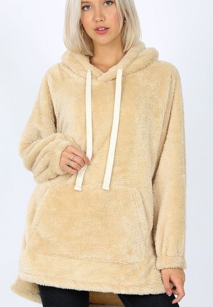 Aria faux fur Hooded Sweatshirt - cream