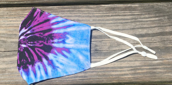 Adjustable adult/teen face mask - purple/blue tie dye