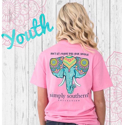 Simply Southern YOUTH Elephant Pink Tee