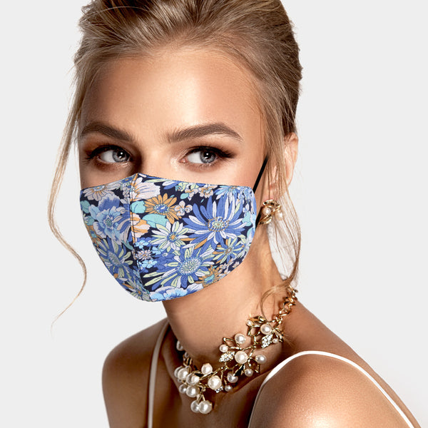 Adult face mask - adjustable blue wildflowers