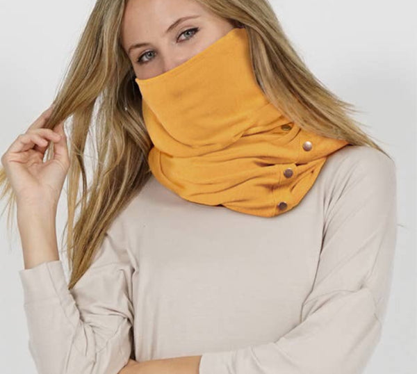 Wrap & Scarf in one w/Adjustable snaps - face mask ash mustard