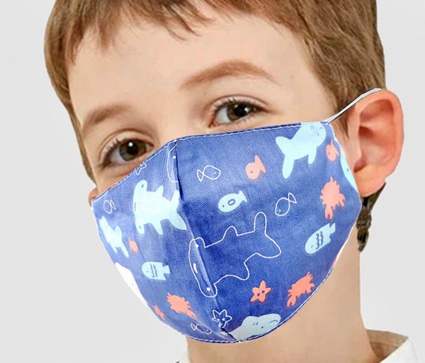 Adjustable Kids Face Mask - Sharks & fish