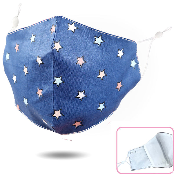 Adjustable Kids Face Mask - Denim stars