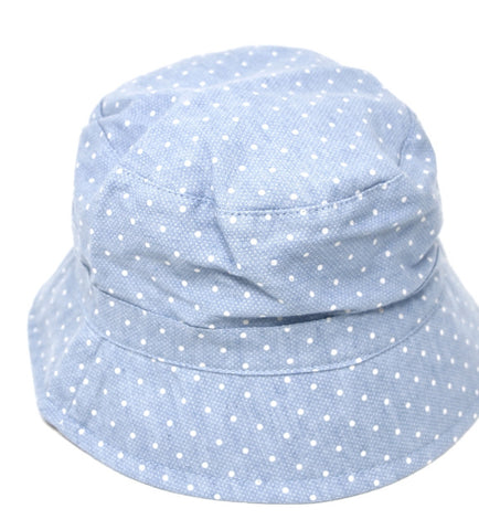 Bucket hat - Chambray polka dot