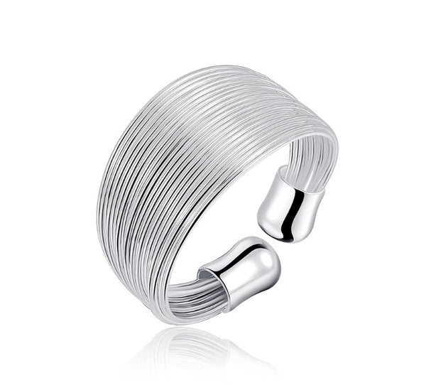 Silver Layered Adjustable Band Ring