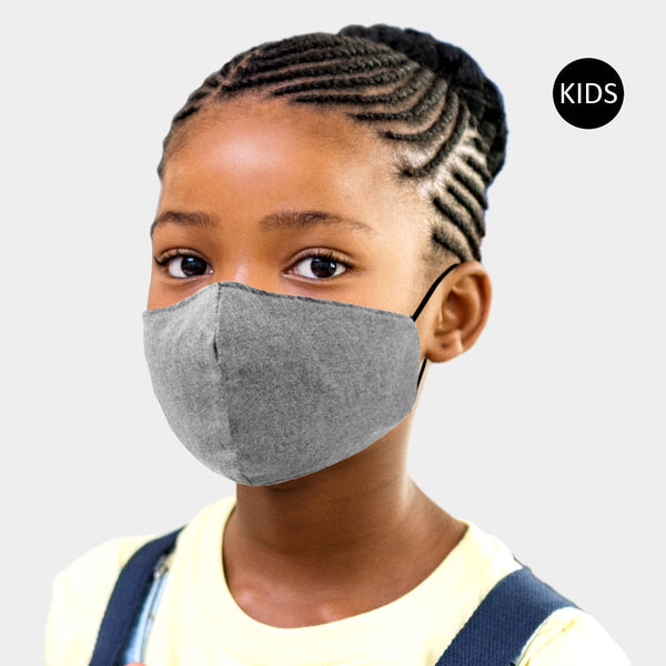 Adjustable kid size charcoal grey face mask