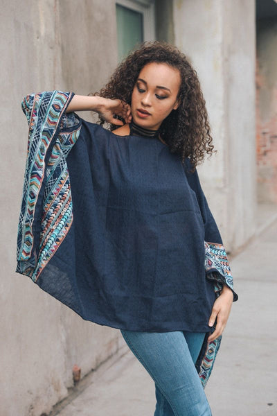 Geometric Embroidered Sleeve Kimono - navy