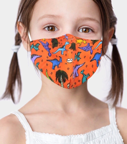 Adjustable Kid Face Mask - orange dino