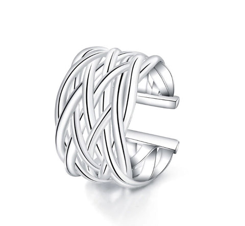 Braided Silver Band Ring