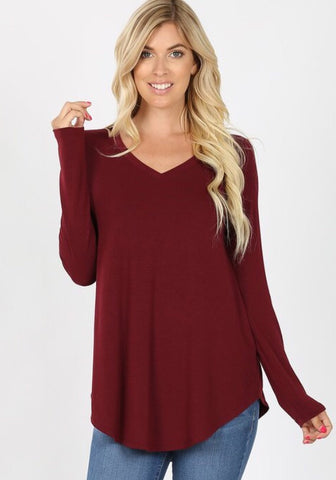 Willow Perfect Layering Tee - burgundy
