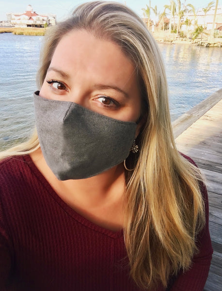 Adjustable teen/adult charcoal grey face mask