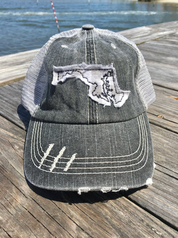 Maryland Distressed Trucker Hat - Grey check