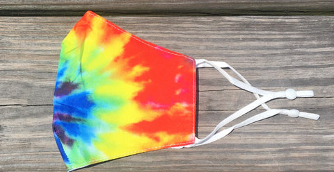 Adjustable adult/teen face mask - multi tie dye