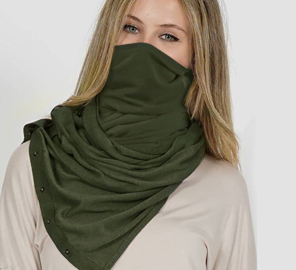 Wrap & Scarf in one w/Adjustable snaps - face mask army green
