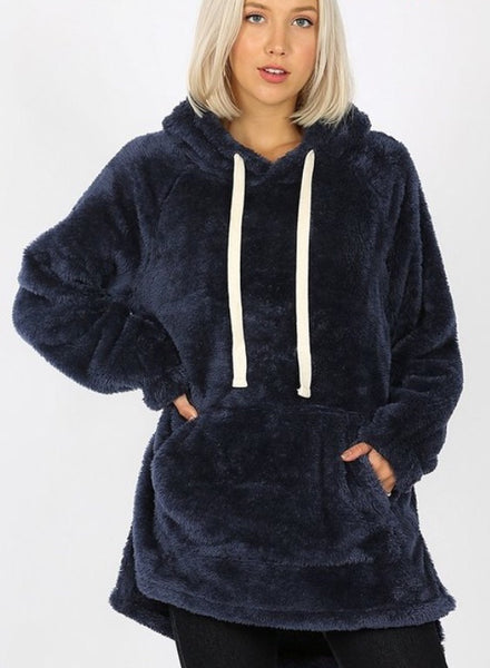 Aria faux fur Hooded Sweatshirt - navy