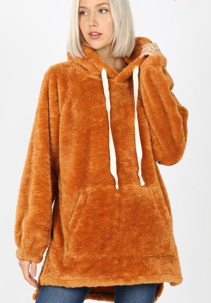 Aria faux fur Hooded Sweatshirt - pumpkin