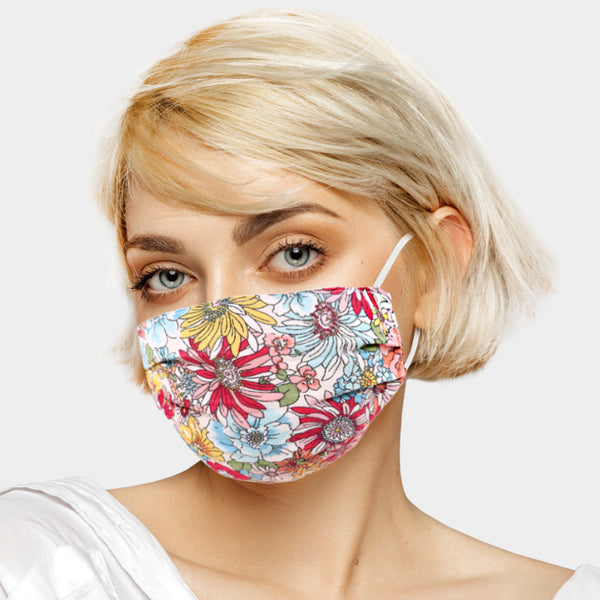 Bright Floral adjustable cotton Face Mask - adult