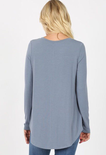 Willow Perfect Layering Tee - blue grey