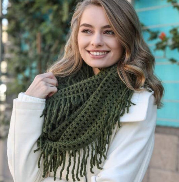 A Perfect Scarf - Lattice Knit Tassel Infinity - olive