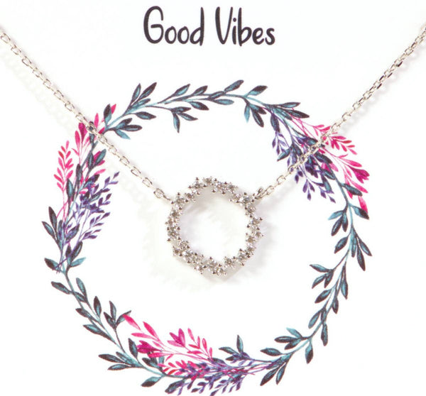 Good Vibes CZ Charm Gold Dipped Necklace